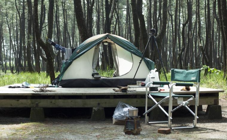 くにの松原キャンプ場でソロキャンプ